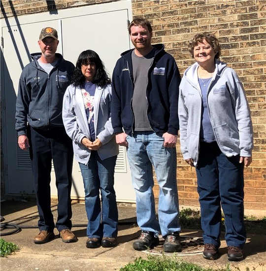 Water Treatment Plant Operators from left to right: Chris Carter, Diana Denny, Mike Crocker, and Patsy Land